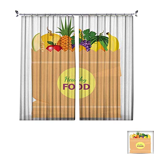 Full Study Loft Bunk Style (DragonBuildingMaterials Drapes W96 x L108 Darkening Blackout CurtainSupermarket-Packet-Full-of-Fresh-Fruits-Food-Shopping-Packet-with-Natural-and-Organic-Food-with-Flat-Color-Style)
