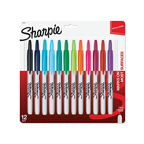 - Sharpie 32707 Retractable Permanent Markers, Fine Point, Assorted Colors, 12 Count