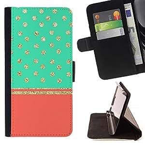 Momo Phone Case / Flip Funda de Cuero Case Cover - Dot Glitter stars Teal Peach - Samsung Galaxy Note 4 IV