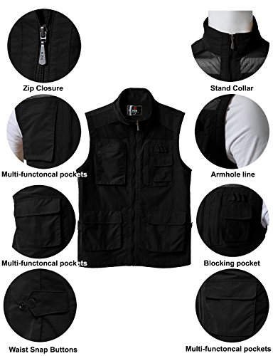 with Multiple Sports Mens KMOV0151 H2H Travels Hunting Pockets Fashion Casual Utility Vest Work BLACK Wzwq1R4wv