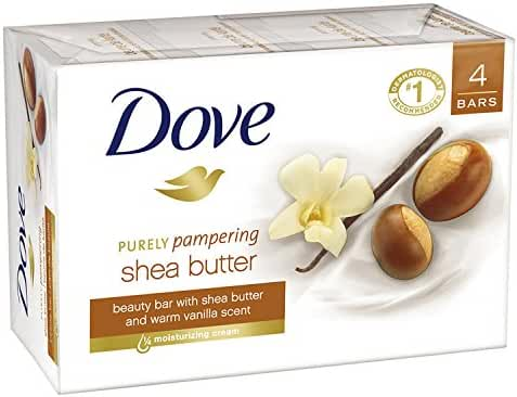 Dove Purely Pampering Beauty Bar, Shea Butter 4 oz, 4 Bar