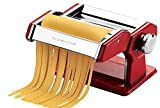 Ovente Stainless Steel Pasta Maker, Includes Hand Crank, Adjustable Countertop Clamp, and Double Pasta Cutter Attachment, 150mm, Vintage Style, 7-Position Dial, Metallic Red (PA515R)