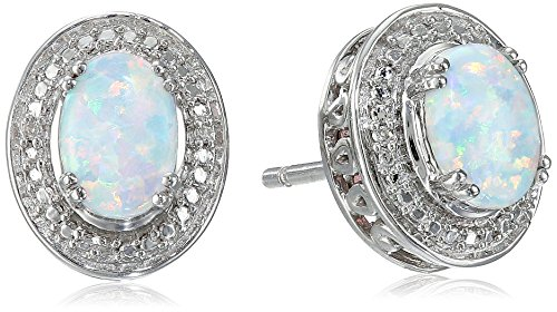Sterling Silver Created Opal Oval with Diamond Stud Earrings (Diamond Created Opal Ring)