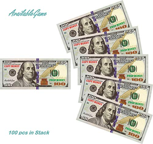Money 100 Dollar Bill (AvailableGame 100 Dollars Play Money for Games, Monopoly Prop Paper Copy Money Double-Sided Printing 100 pcs $10,000 Educational One Hundred Dollar Bills Copy Money Stack for)