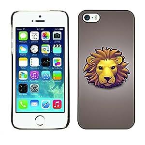 Carcasa Funda Prima Delgada SLIM Casa Case Bandera Cover Shell para Apple Iphone 5 / 5S / Business Style Lion Face