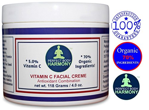 Vitamin C Cream For Face; Anti Aging Facial Creme Moisturizer With 70% Organic Ingredients with Nutrients; Reduce Appearance of Wrinkles; SULFATE & PARABEN FREE; No Animal Testing; 4.0 Ounce Jar (Perfect Body Harmony Shea Butter)