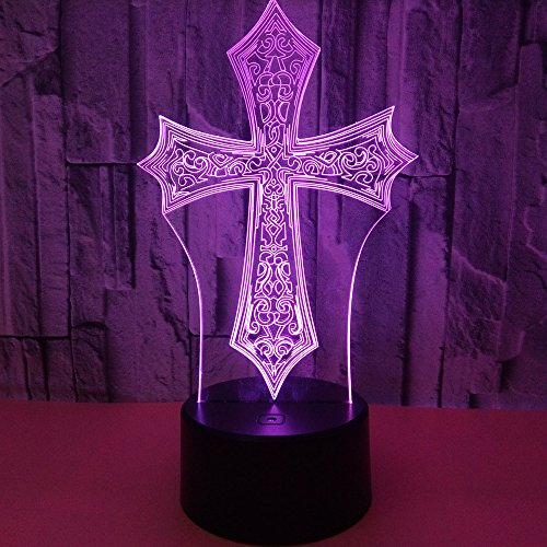 Beside Lamp Lamp Night Lights As a Gift 7 Colors Change LED for Desk Table with Multicolored USB Powered Home Decoration Best Gift for Children (Cross) by King's Bridal (Image #7)