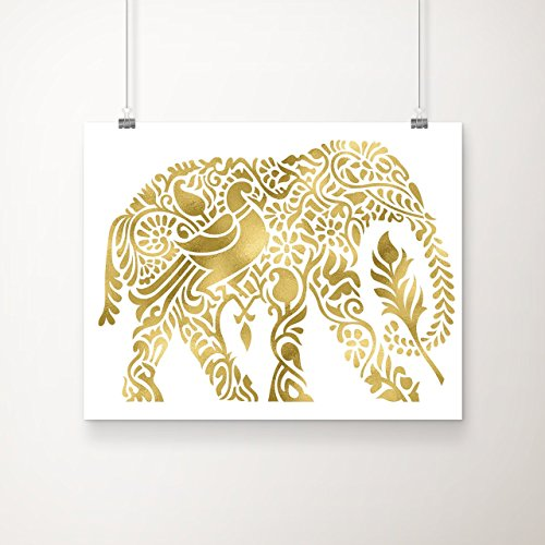 Country Decor Wall Art (Elephant Decor Gold Foil Art Print   Elephant Wall Art   Boho Decor   Elephant Gift   8 inches x 10 inches  )