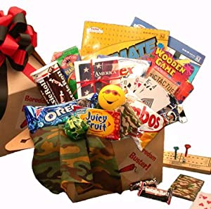 Military Care Package of Snacks and Games