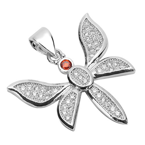 Diamond Dragon Charm (1pc Top Quality Silver Dragonfly Pendant Charm with Man Made Diamond Simulants # MCAC08)