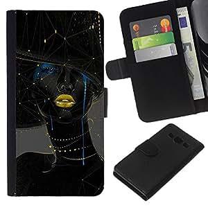 KLONGSHOP // Tirón de la caja Cartera de cuero con ranuras para tarjetas - Mujer Oro Labios Moda Arte - Samsung Galaxy A3 //