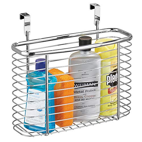 "InterDesign Axis Metal Over the Cabinet Storage Organizer, Waste Basket, for Aluminum Foil, Sandwich Bags, Cleaning Supplies, Garbage Bags, Bath Supplies, 5"" x 11"" x 9.75"", Chrome"
