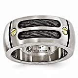ICE CARATS Edward Mirell Titanium Brushed Cable 18k Rivet 9.25mm Wedding Ring Band Size 8.50 Man Fancy Type of Fine Jewelry Gift for Dad Mens for Him