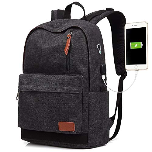 Canvas Laptop Backpack, Waterproof School Backpack With USB Charging Port For Men Women, Vintage Anti-theft Travel Daypack College Student Rucksack Fits up to 15.6 inch Computer (Black)