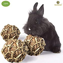 SunGrow Rabbit Banana Leaf Ball, 2.5-inches, Trims Teeth, Durable Chew Toy, Improves Dental Health, for Bunny, Guinea Pig, Kitten and Chinchilla, 3-Pack