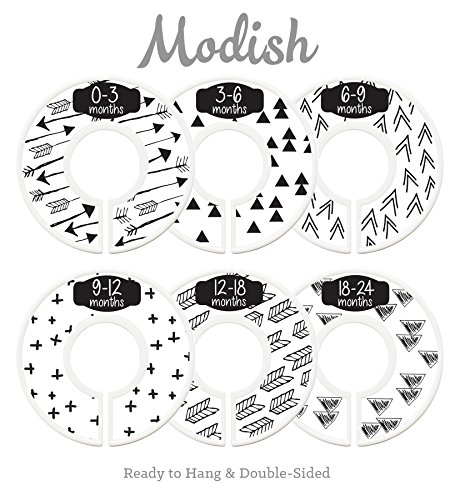 Modish Labels Baby Nursery Closet Dividers, Closet Organizers, Nursery Decor, Gender Neutral, Baby Boy, Baby Girl, Tribal, Arrows, Triangles, Boho Geometric, Nordic, Black, White (White)