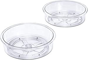 Slideep 9.8'' Round Lazy Susan Rotating Turntable Food Storage Container for Cabinet, Pantry, Refrigerator, Countertop, Spinning Organizer for Spices, Condiments, Baking Supplies 2 Pack