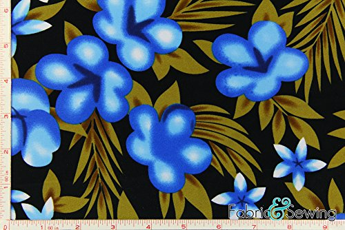 Black, Taupe, and Light Blue Hawaiian Flower Print Full Dull Tricot Swimwear Fabric 4 Way Stretch Nylon Spandex Lycra 6 Oz 58-60