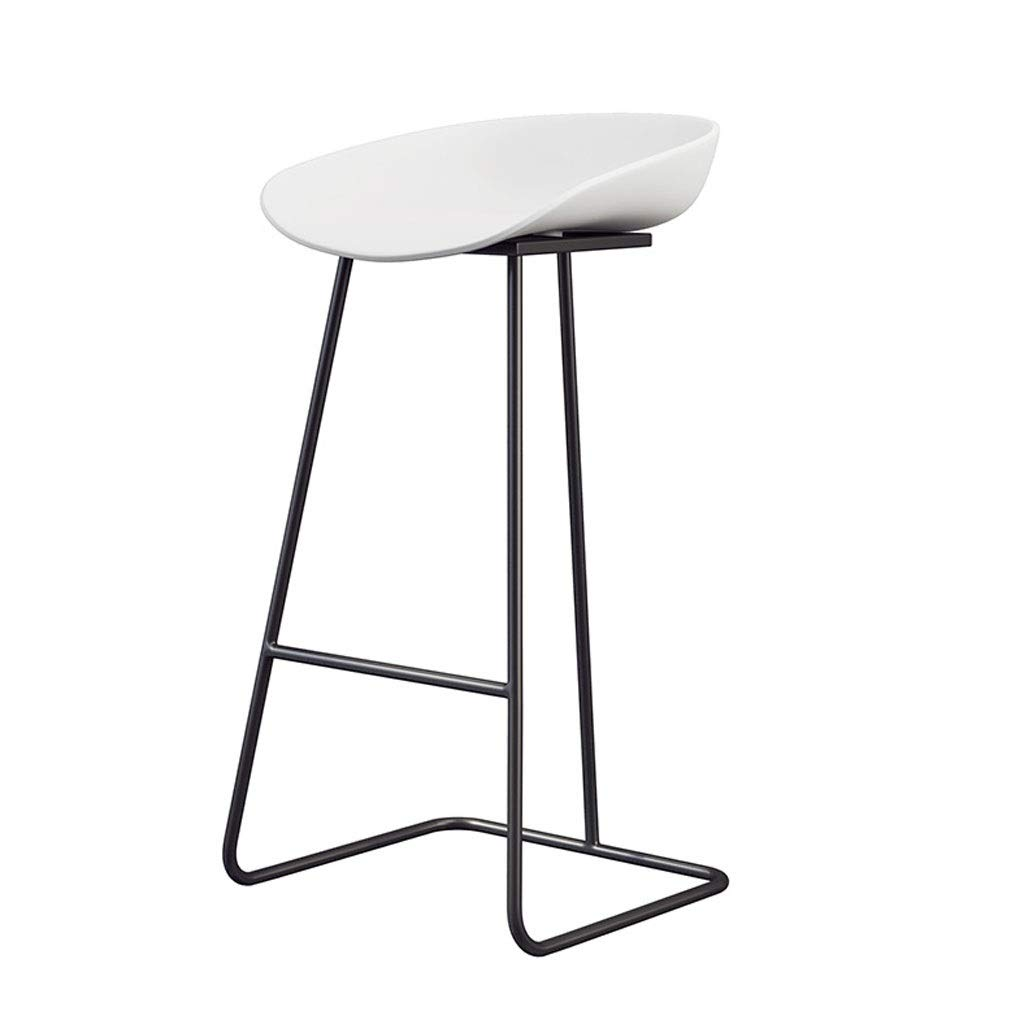 D H80cm Iron Bar Chair, PP Plastic Seat Creative Simple Bar Table Chair Cafe Leisure Stool Hotel Home Living Room Front Desk High Stool (color   C, Size   H85cm)