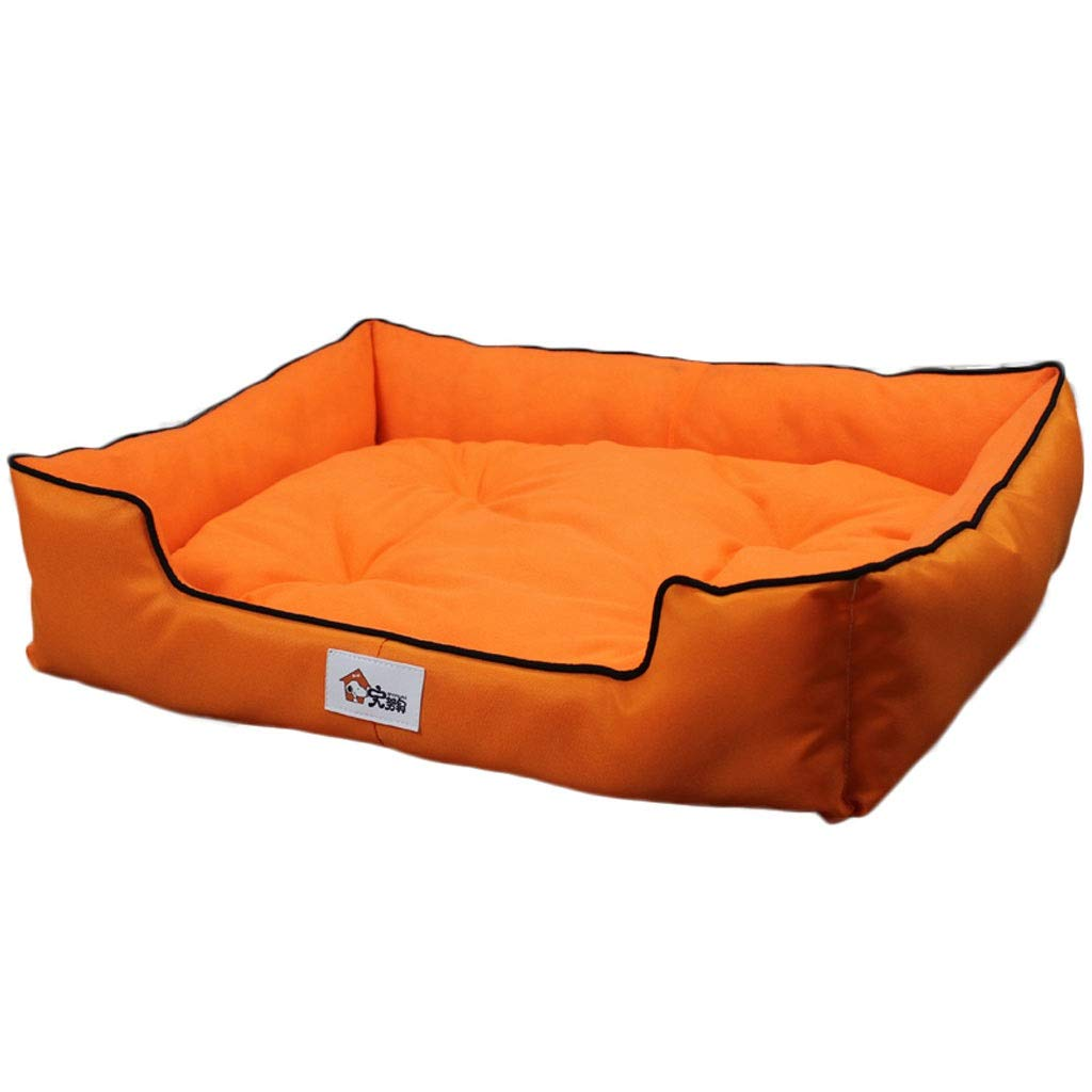 orange 555014cm orange 555014cm One-Piece Square Pet Nest, Large Small Medium Dog golden Retriever Dog Bed, Home Pet Oxford Cloth Anti-Slip Mat, Universal Season (color   orange, Size   55  50  14cm)