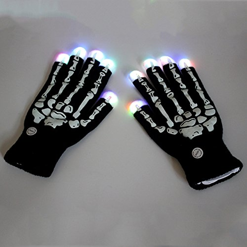 Elibeauty LED Gloves, Halloween Flashing LED Finger Light Gloves with Colorful Rave 7 Colors Light Show Best Idea Halloween Gift (Best Halloween Customs)