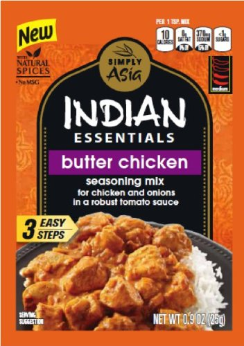 Simply Asia Indian Essentials Butter Chicken Seasoning Mix, 0.9 Ounce -- 12 per case. (Chicken Sauteed)