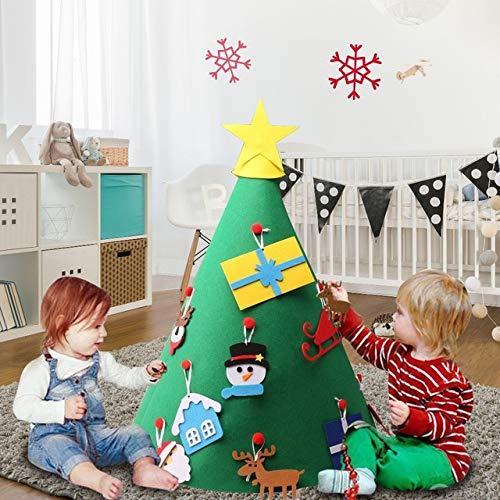 LFS 3D Fai da Te Albero di Natale in Feltro con 18 Pezzi Albero di Natale Sospeso Ornamenti Regali di Natale per Bambini