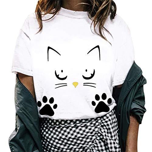 Womens Summer Short Sleeve Casual O-Neck Cute Cat Print Tops Tee Shirts Blouse White ()
