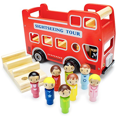 Wooden Wheels Double-Decker Red Tour Bus with 8 Tourists by Imagination Generation