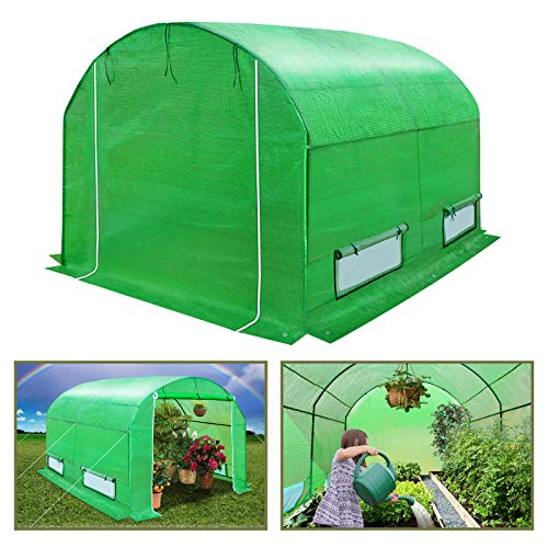 BenefitUSA GH055 Outdoor Green Walk in Garden Canopy Gazebo Plant House (10'X7'X6') Greenhouse (10 Best House Plants)