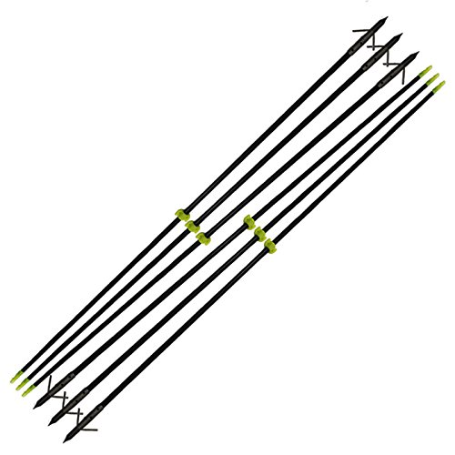 e5e10 35' Bow Fishing Fish Arrows Arrowheads with Durable Steel Replaceable Torpedo Tip and Black...