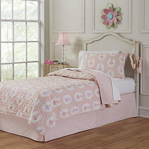 (Lullaby Bedding 200QL-TBrina Ballerina Twin Cotton Printed 2 Piece Quilt Set, Twin/Twin XL )