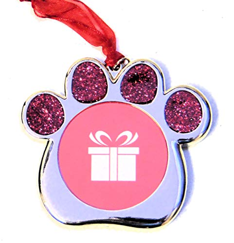 Studio Decor Red Glitter Pet Dog Paw Ornament Photo Frame Metal ()