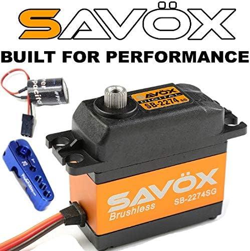 Savox SB-2274SG 高電圧/高速/ブラシレスモーター/スチールギア/標準サイズデジタルサーボ Powerhobby Glitch Buster+アルミホーン