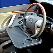 Mullsan Multifunction Car Table Laptop Desk Truck Food Snacks Electronics Cup Holder Mount On Steering Wheel/Eating Desk Black