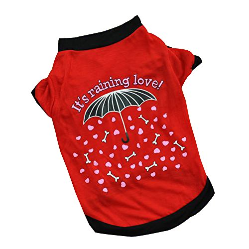 Wouke Pet Clothes, Puppy Shirt Warm Lovely Coat Cute Sweatshirt Print It is Raining Love Vest for Cat -