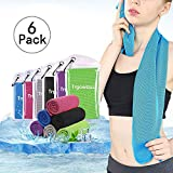 Trgowaul Cooling Towels 6 Pack, 40 x 12 Inches, Ice Towel, Soft Breathable Chilly Towels, Microfiber Towel for Yoga, Sport, Running, Gym, Workout,Camping, Fitness, Workout & More Activities