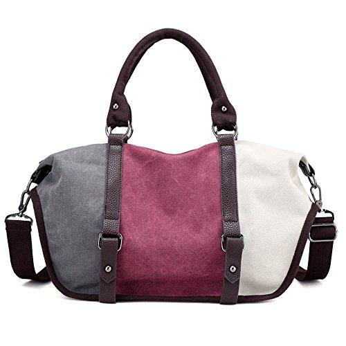 Aoligei Capacité couleur grande collision oblique loisirs cross sac main sacs mode rétro toile coutures arc-en-ciel sac C