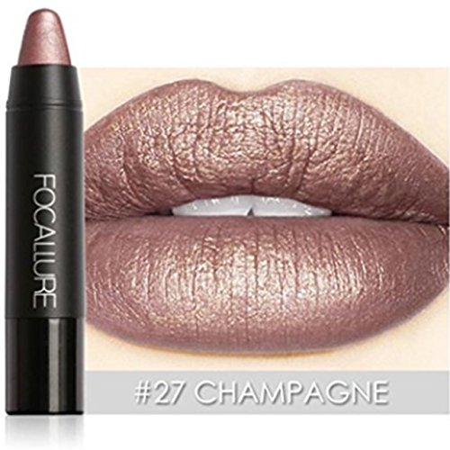 Hot Sales! Fation Show FOCALLURE Metallic Lipstick Pen Waterproof Lasting 8 Color Optional Lip Makeup (#27 CHAMPAGNE)