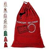 "Fannybuy Santa Sack Personalized Bags Large Drawstring Canvas Burlap Bag Drawstring Delivery Extra Large Size 27.5""x19.5"" (B)"