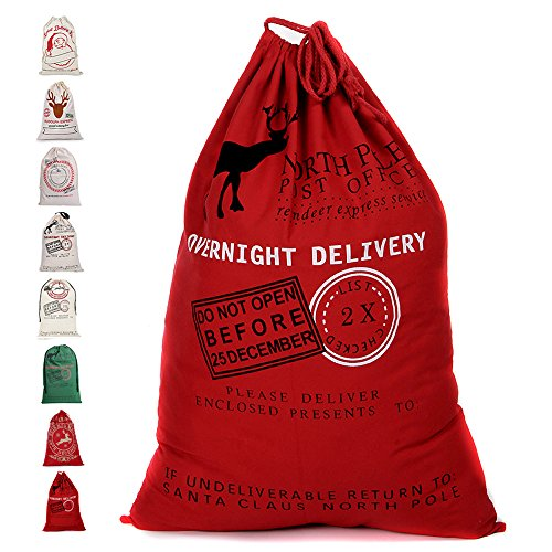 Fannybuy Santa Sack Personalized Christmas Gift Bags Large Drawstring Canvas Burlap Bag Drawstring Delivery Extra Large Size 27.5