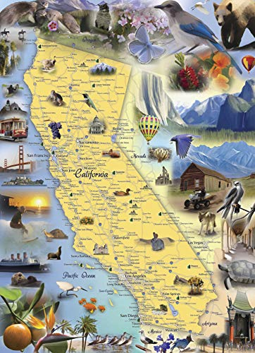 Hennessy Puzzles California Map Jigsaw Puzzle - 1000 Piece - Map of The State of California with Beautifully Illustrated Artwork Made in The USA with Recycled Materials
