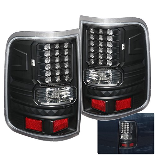 AJP Distributors LED Tail Lights Lamps For Ford F-150 F150 Styleside Body (Black) ()