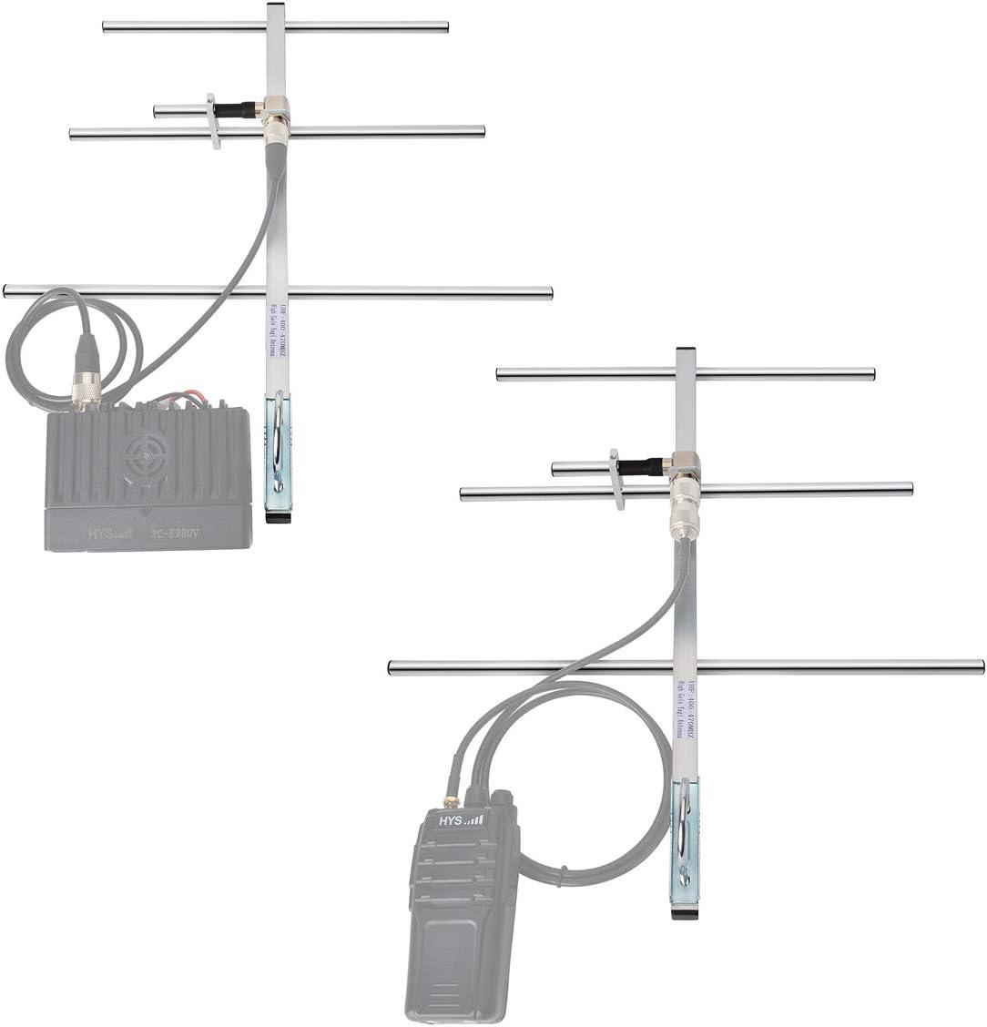 HYS UHF 100 W Yagi Antena de estación Base con Alta amplificación 7 dBi UHF Hembra de aleación de Aluminio para 400-470 MHz móvil transmisor FM/Radio