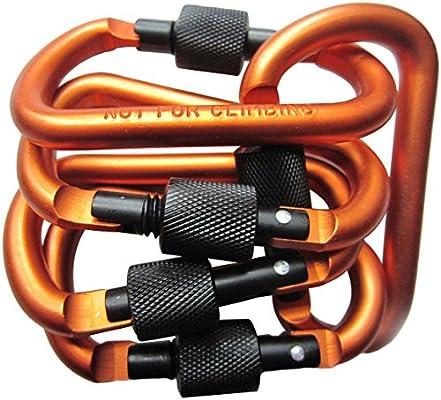 5X Heavy Duty Carabiner Clip Hook D-Ring Keychain Screw Lock Rock Climbing