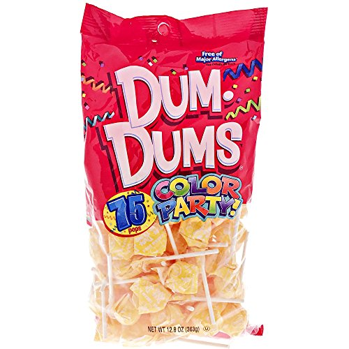 Yellow Dum Dums Color Party - Cream Soda Flavored - 75 Count Bag - 12.8 ounces - Includes Free How To Build a Candy Buffet Guide -
