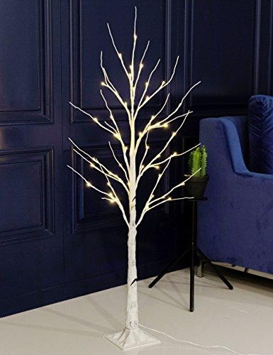 Bolylight LED Birch Tree 4ft 48L LED Christmas Decorations Lighted Tree Decor for Bedroom/Party/Wedding/Office/Home Outdoor and Indoor Use Warm White ()