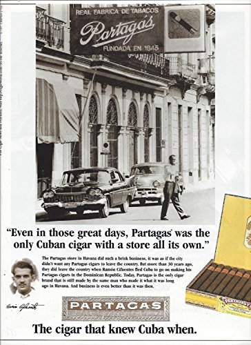 (MAGAZINE AD For Partagas Cuban Cigar 1997 The Cigar That Knew)