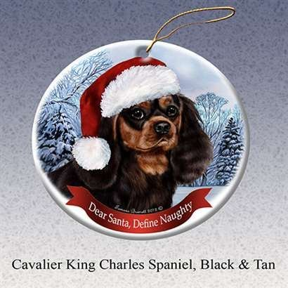 Cavaliers Santa - Black and White Cavalier King Charles Spaniel Dog Santa Hat Christmas Ornament Porcelain China U.S.A. Gift