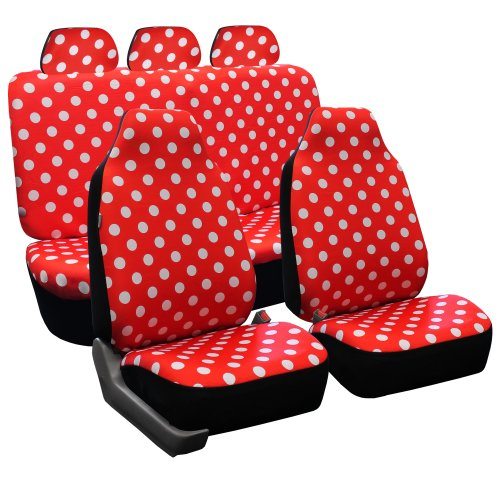 FH GROUP FH-FB115115 Full Set Polka Dots Car Seat Covers for Car Van and SUV, Red color